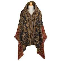 Paisley Wool Hooded Wrap