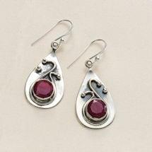 Ruby & Sapphire Swirl Earrings