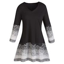 Rose Border Tunic Top