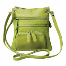 Zip-Top Leather Crossbody Bag