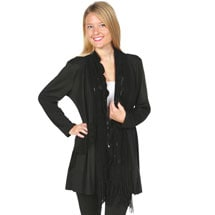 Attached Scarf and Sweater Long Tunic Jacket