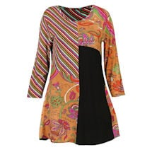 Bright City Lights Long Patchwork Tunic Top