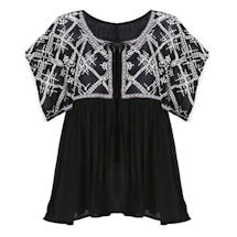 Tunic Top - Embroidered Bodice Lucille Lace-Tie Blouse