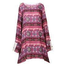 Lace-Stripe Pink Print Long Tunic Top Dress