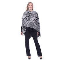 Parsley & Sage Fresque Patterned Long Fringed Black & Grey Cape Wrap