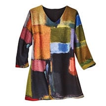 Watercolor Blocks Brushed Pullover