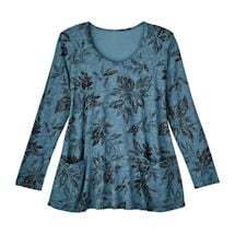 Charcoal Leaves Knit Tunic
