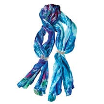 Silk Crinkle Scarf With Pewter Ring