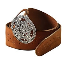 Filigree Buckle Leather Belt