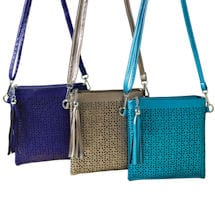 Metallic-Sheen Crossbody Bag