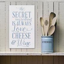Love Cheese Wine Wall Art