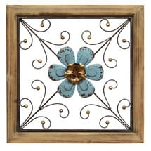Floral Square Wall Décor - Blue