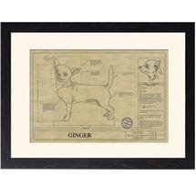 Personalized Framed Dog Breed Architectural Renderings - Chihuahua