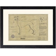 Personalized Framed Dog Breed Architectural Renderings - Greyhound