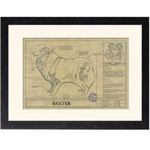 Personalized Framed Dog Breed Architectural Renderings - Collie