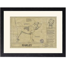 Personalized Framed Dog Breed Architectural Renderings - Bloodhound