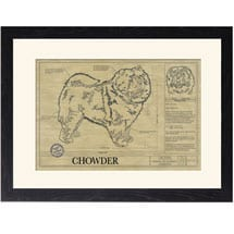 Personalized Framed Dog Breed Architectural Renderings - Chow Chow