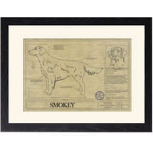 Personalized Framed Dog Breed Architectural Renderings - Flat-Coated Retriever