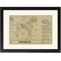 Personalized Framed Dog Breed Architectural Renderings - German Wirehaired Pointer