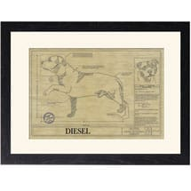 Personalized Framed Dog Breed Architectural Renderings - Staffordshire Bull Terrier