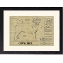 Personalized Framed Dog Breed Architectural Renderings - Puggle