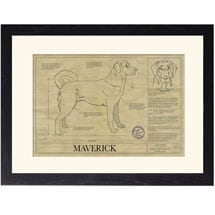 Personalized Framed Dog Breed Architectural Renderings -Anatolian Shepherd