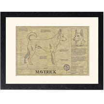 Personalized Framed Dog Breed Architectural Renderings -Carolina Dog