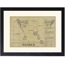 Personalized Framed Dog Breed Architectural Renderings -Chinese Crested