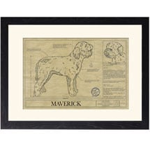 Personalized Framed Dog Breed Architectural Renderings -Lagotto Romangnolo