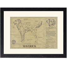 Personalized Framed Dog Breed Architectural Renderings -Llewellin Setter