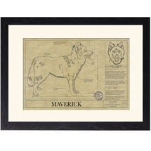 Personalized Framed Dog Breed Architectural Renderings -Native American Indian Dog