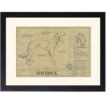 Personalized Framed Dog Breed Architectural Renderings -Saluki