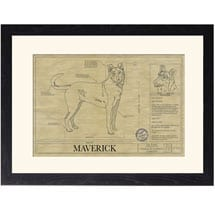 Personalized Framed Dog Breed Architectural Renderings -Smooth Collie