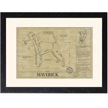Personalized Framed Dog Breed Architectural Renderings -Wire Fox Terrier