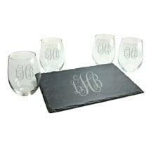 Personalized Monogram Stemless Wine Glasses and Slate Cheese Board Set - Interlock Font