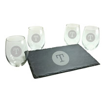 Personalized Initial Stemless Wine Glasses and Slate Cheese Board Set - Typewriter Font