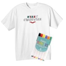 """Children's Color Your Own """"Merry Christmas"""" T-Shirt & Markers Set"""