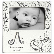 Handmade Ceramic Monogram Baby Photo Frame