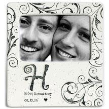 Handmade Ceramic Monogram Couple Photo Frame