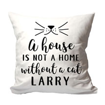 "Personalized ""A House is Not a Home Without a Cat"" Pillow"