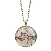 """Engraved Custom Map 1"""" Pendant Necklace"""