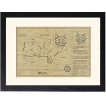 Personalized Framed Cat Breed Architectural Renderings - Manx