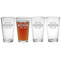 Personalized In Hops We Trust Set of 4 Pint Glasses