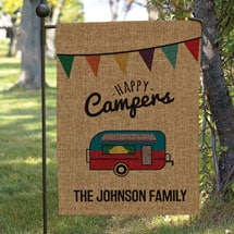 Personalized Happy Campers Burlap Garden Flag