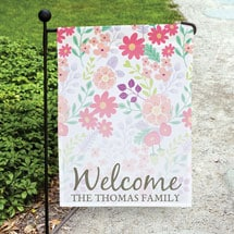 Personalized Watercolor Welcome Garden Flag with Flag Pole