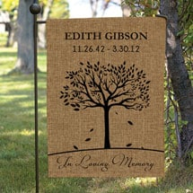 Personalized In Loving Memory Burlap Garden Flag with Flag Pole