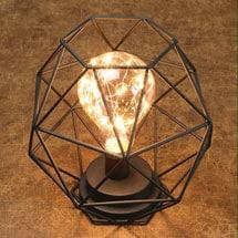 "Table Desk Accent Lamp - Wire Polygon Sculpture LED Light - 12"" H"
