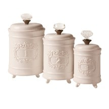 Mud Pie Kitchen Canisters - White Ceramic Lidded Jars - Set of 3