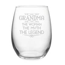 """Grandma: The Woman, The Myth, The Legend"" Stemless Wine Glass"
