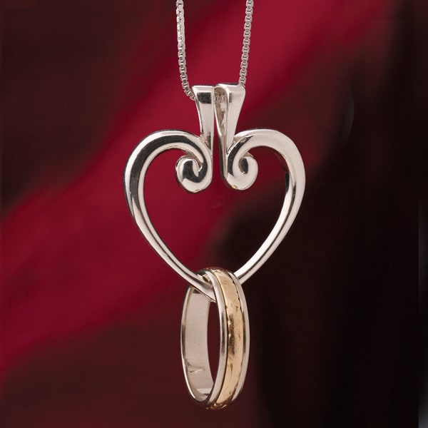 Sterling Silver Hinged Heart Ring Holder Pendant Necklace 18